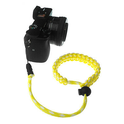 Yellow/White Quick Release Braided 550 Paracord Adjustable Camera Wrist Strap 4