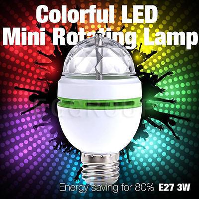 E27 B22 E14 RGB Crystal Ball Auto Rotating LED Stage Light Bulb Disco Party Lamp 5