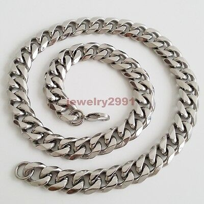 "Top 316L Stainless Steel Heavy Link Silver Curb Cuban Chain Men Necklace 8""-40"" 9"