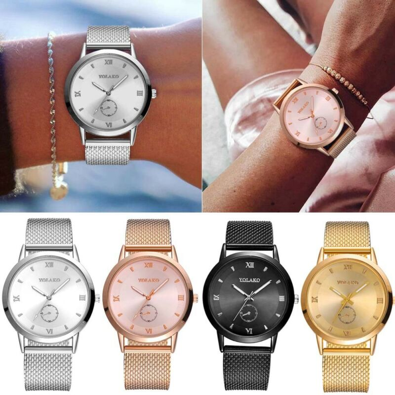 UK Women Ladies Rose Gold Silver Plated Stainless Steel Geneva Wrist Watch 10