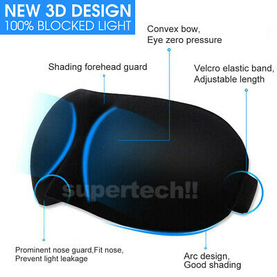 4x Travel Sleep Eye Mask Soft Memory Foam Padded Shade Cover Sleeping Blindfold 4