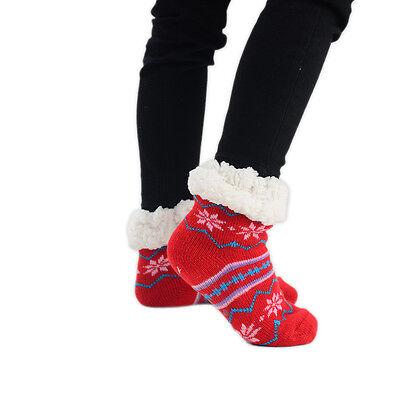 Kids Children Christmas Slipper Socks Snowflake Grip 1 Pair Size UK 12-3