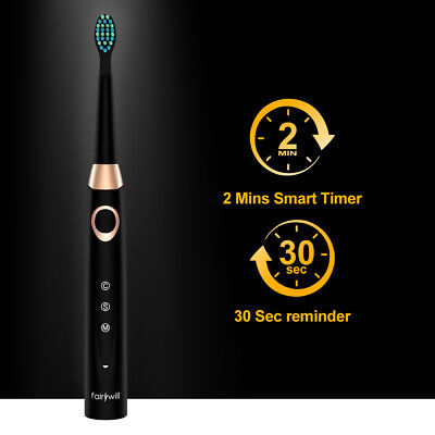 Fairywill Sonic Electric Toothbrush Black Rechargeable Waterproof Toothbrush 7
