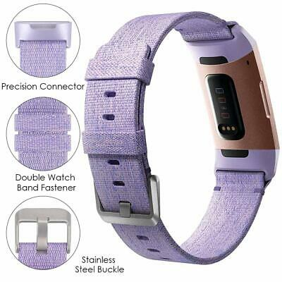 Replacement Strap For Fitbit Charge 3 Watch Stainless Steel/Canvas Band Bracelet 4