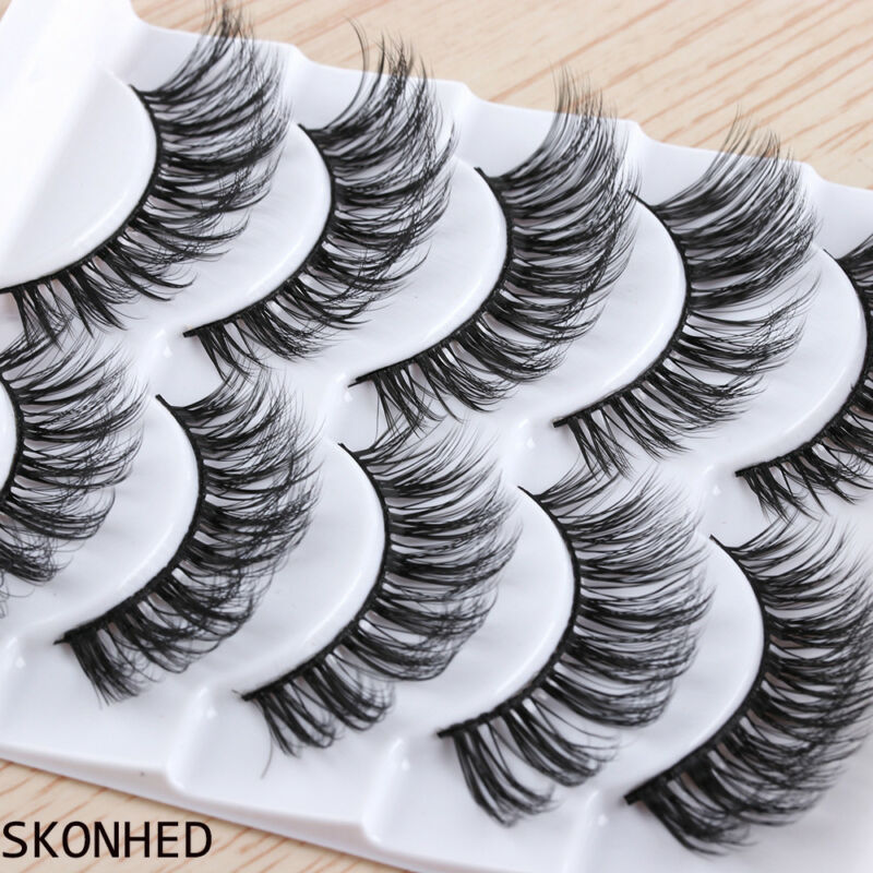 5Pairs 3D Faux Mink Hair False Eyelashes Extension Wispy Fluffy Think Lashes. 9