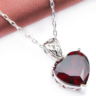 Genuine Natural Heart Fire Red Garnet Gemstone Platinum Plated Necklace Pendant 6