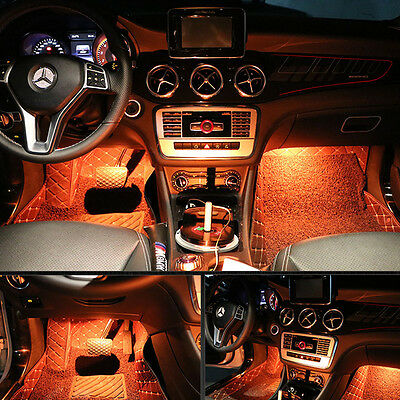 ... LED Interior Car Kit Under Dash Footwell Seats Inside Lighting Blue  Tooth Contro 12