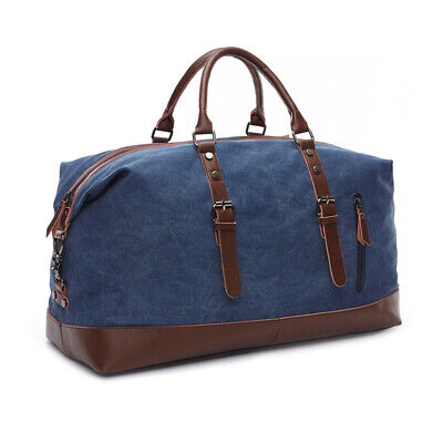 Vintage Men's Canvas Leather Travel Duffle Bag Shoulder Weekend Luggage Gym Tote 6