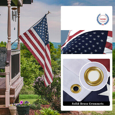 5X8 Ft American Flag US Flag United States Embroidered Stars  Brass Grommets 5