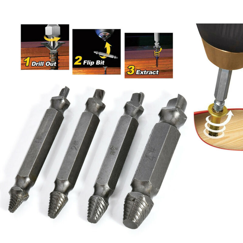 4PCS Broken Bolt Damage Screw Remover Extractor Drill Bits Easy Out Stud Reverse 2