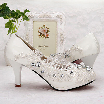 2af06458171c 1 of 3 Lace white ivory crystal Wedding shoes Bridal flats low high heel  pump size 5-10