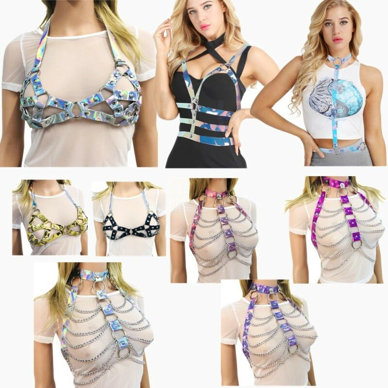 Sexy Women PVC Halter Body Chain Harness Metal Chest Belt Corset Bustier Costume