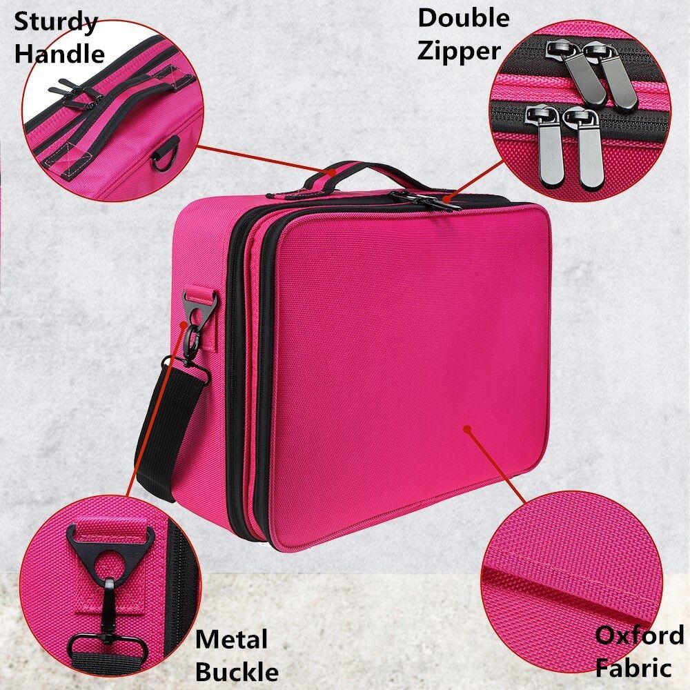 Professional Makeup Bag Portable Cosmetic Case Storage Box Handle Organizer 2