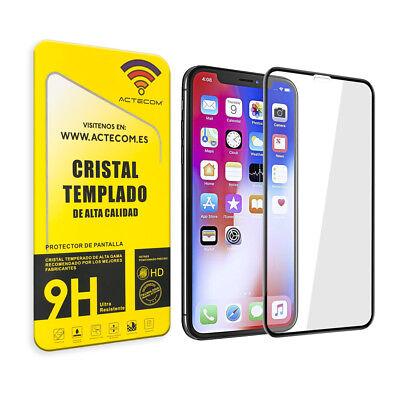 Actecom® Protector Pantalla Completa 3D 5D Negro Cristal Templado Para Iphone X 2