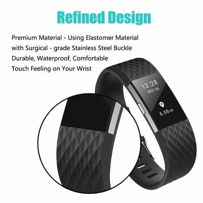 10 Pack Replacement Wristband For Fitbit Charge 2 Band Silicone Fitness Small 3