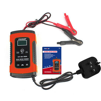 Car Battery Charger 12V 5A LCD Intelligent Automobile Motorcycle Pulse Repair UK 12