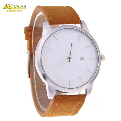 Men's Fashion Sport Stainless Steel Case Leather Band Quartz Analog Casual Watch 10