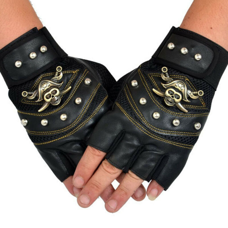 Fashion Mens Punk Skull Mitten PU Leather Gloves Sport Cycling Fingerless Gloves