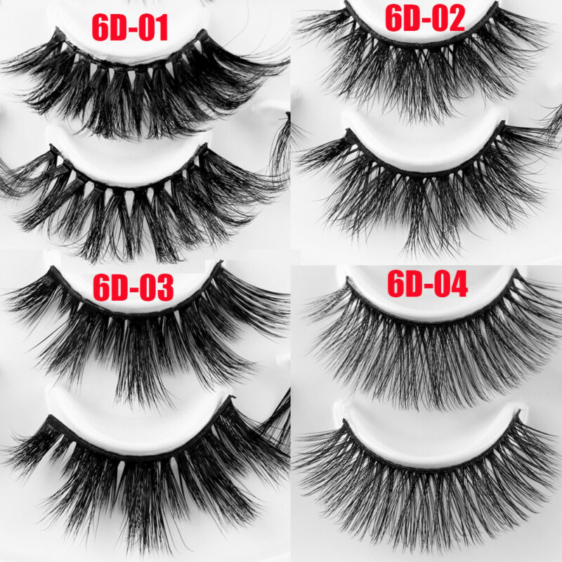 SKONHED 7 Pairs 25mm 6D Mink Hair False Eyelashes Thick Wispy Fluffy Lashes NEW 2