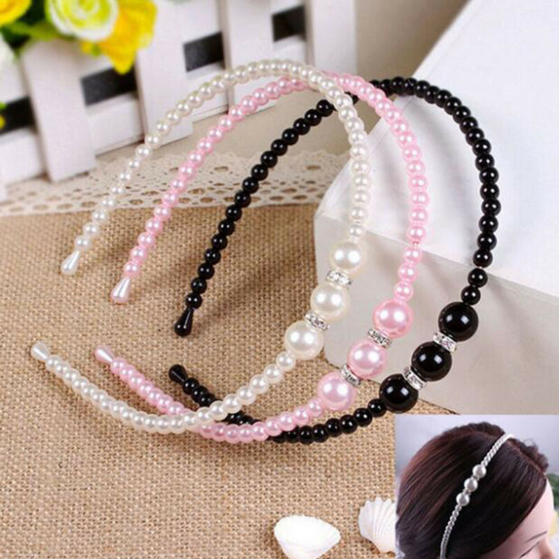 Women Rhinestone Hair Band Girls Kids Pearl Princess Women Headbands Hair Style 3