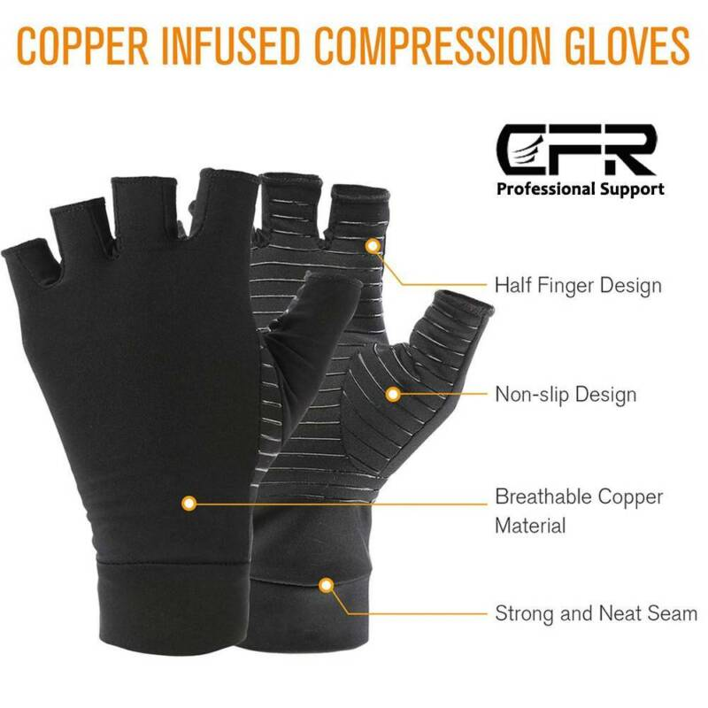 Arthritis Gloves Compression Support Hands Pain Copper Sleeve Carpal Tunnel Grip 8