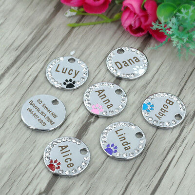 Personalized Dog Tags Paw Rhinestone Pet Cat ID Name Tag Engraved Free Hair Bows 10