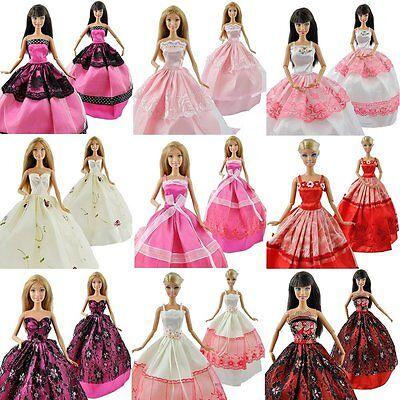 5pcs/Lot Barbie Doll Fashion Princess Dresses Outfits Party Wedding Clothes Gown