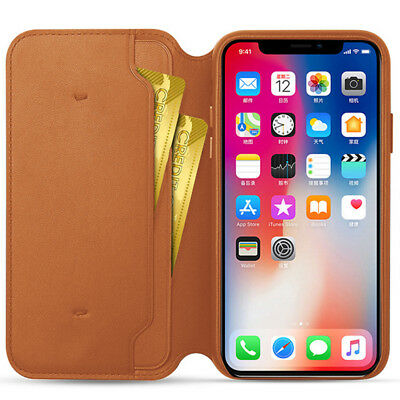 Genuine Leather Folio Flip Wallet Case Cover For Apple iPhone 10 X 8 7 6 Plus 6s