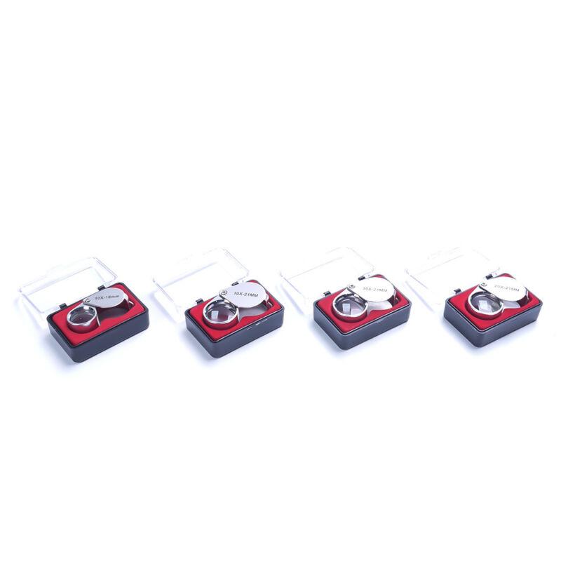 4sizes Triplet Jeweler Eye Loupe Magnifier Magnifying Glass Jewelry Diamond+Box 4