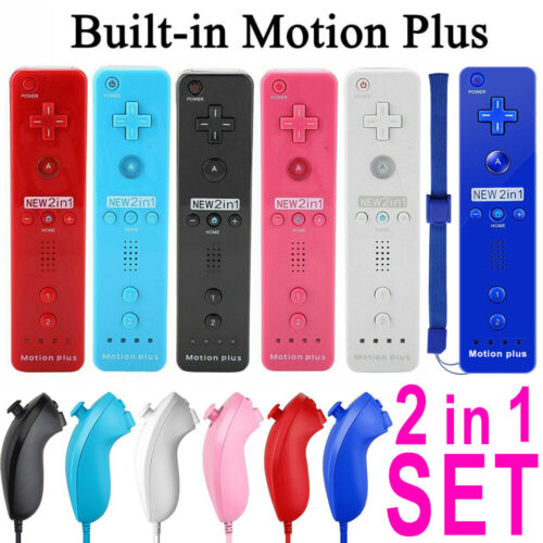 2Sets REMOTE CONTROLLER and NUNCHUCK FOR NINTENDO WII & WII U + SILICONE + STRAP 2