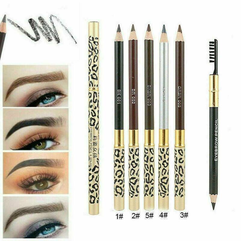 2in1 Waterproof Eyebrow Pencil With Brush Leopard Print Long Lasting Makeup 3