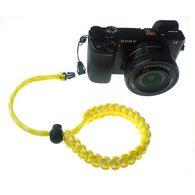Yellow/White Quick Release Braided 550 Paracord Adjustable Camera Wrist Strap 2
