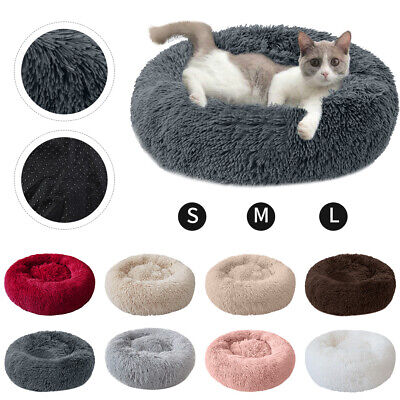 Pet Dog Cat Calming Bed Warm Soft Plush Round Cute Nest Comfortable Sleeping UK 3