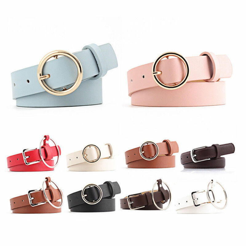 Vintage Metal Round Buckle Waist Belt Boho Leather Women Lady Waistband Belt