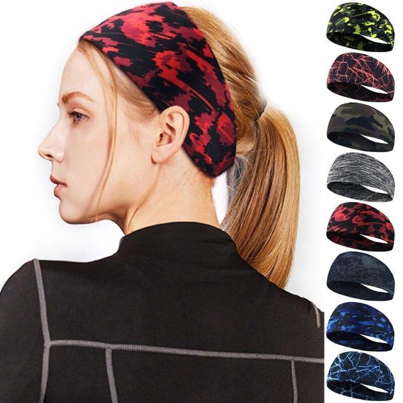 Fashion Women Men Stretch Headband Sport Sweat Sweatband Yoga Gym Hair Head-Band 5