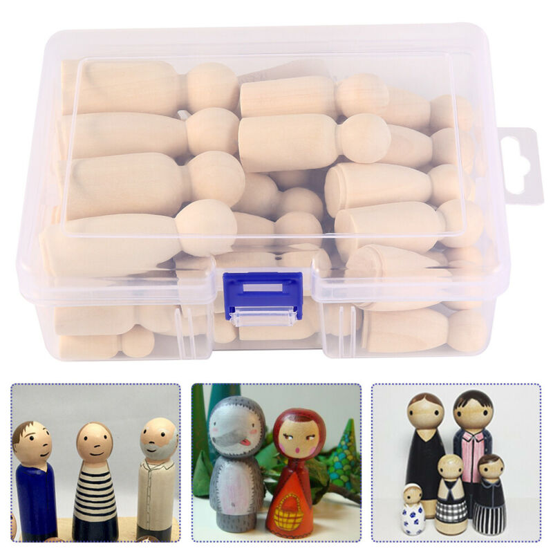 50PCS DIY Wooden Peg Doll Unfinished Family People Wedding Craft Man/Lady/Kids 4