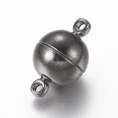 1 MAGNET VERSCHLUSS RUND STARK MESSING VERSILBERT 16x10 mm SCHMUCK BASTELN//020