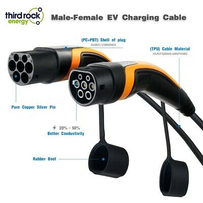EV Charging Cable Type 2 to Type 2, 32A, 7.2KW, 250V, 5 Metre, 2 Yr Warranty 4