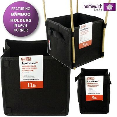Root Nurse Fabric Pot 100% Breathable Hydroponics Container Grow Bag Plant Litre 3