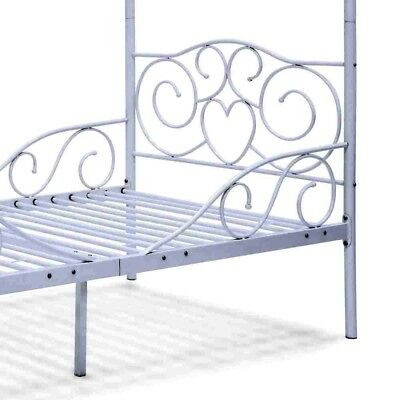 METAL CANOPY BED Frame White Twin Size Slats Heart Scroll ...