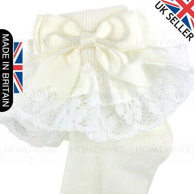 Girls Baby Spanish Bow Socks Double Ribbon Bow Frilly Lace Ankle Socks New Kids 4
