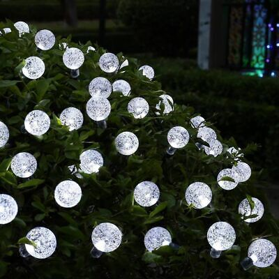 50 LED solaire de jardin alimenté fée partie chaîne boule de cristal lumière 10
