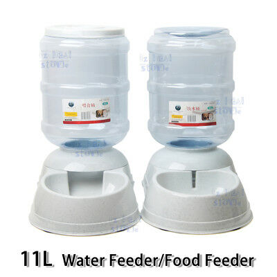 3.8/11L Automatic Pet Dog Cat Water Bowl Food Feeder Bottle Dispenser Plastic 3