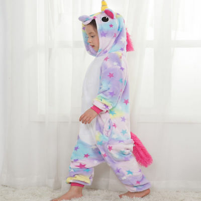 Rainbow Unicorn Kids Kigurumi Animal Cosplay Costume Onesie01 Pajamas Sleepwear 6