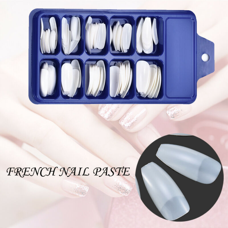 HOT 100Pcs Professional Fake Nails Long Ballerina Half French Acrylic Nail Tips 5