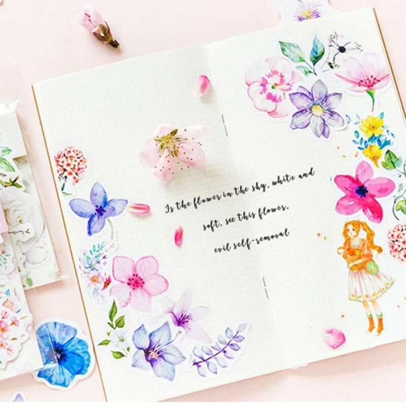 45Pcs/bag Cute Diary Journal Flower Stickers Scrapbooking Japanese Style Decor 6