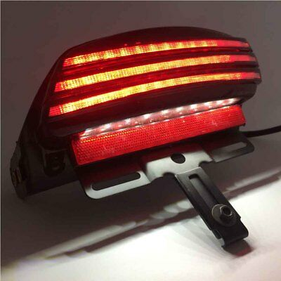 White Tri-Bar Rear Fender LED Tail Light For Softail FLSTSB FXST for Dyna 8