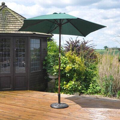 2.4 M Wooden parasol Umbrella Garden Patio NEW 2 summer colours 3