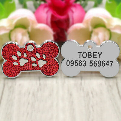 Glitter Paw Print Dog Tag Personalized Engraved Cat Pet ID Name Tag Bone Shape 8