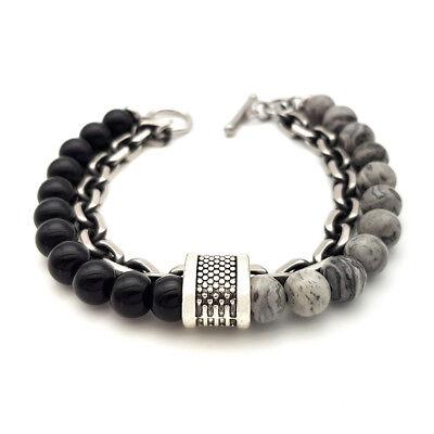 Bracciale catena acciaio uomo con pietra dure in onice nero da braccialetto 6